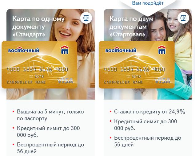 Кредитная карта «Стандарт» и «Стартовая»
